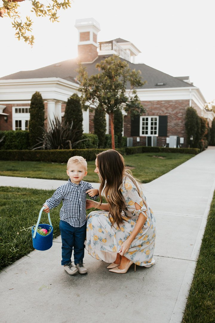 mom and son with easter basket