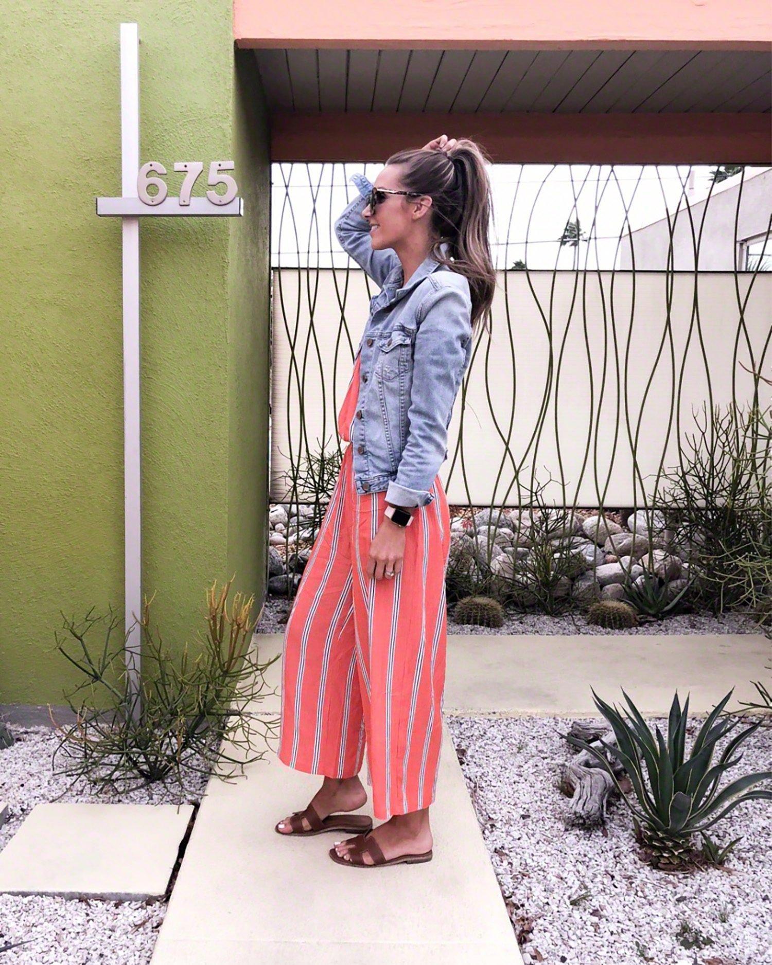 pink striped jumpsuit | merricksart.com