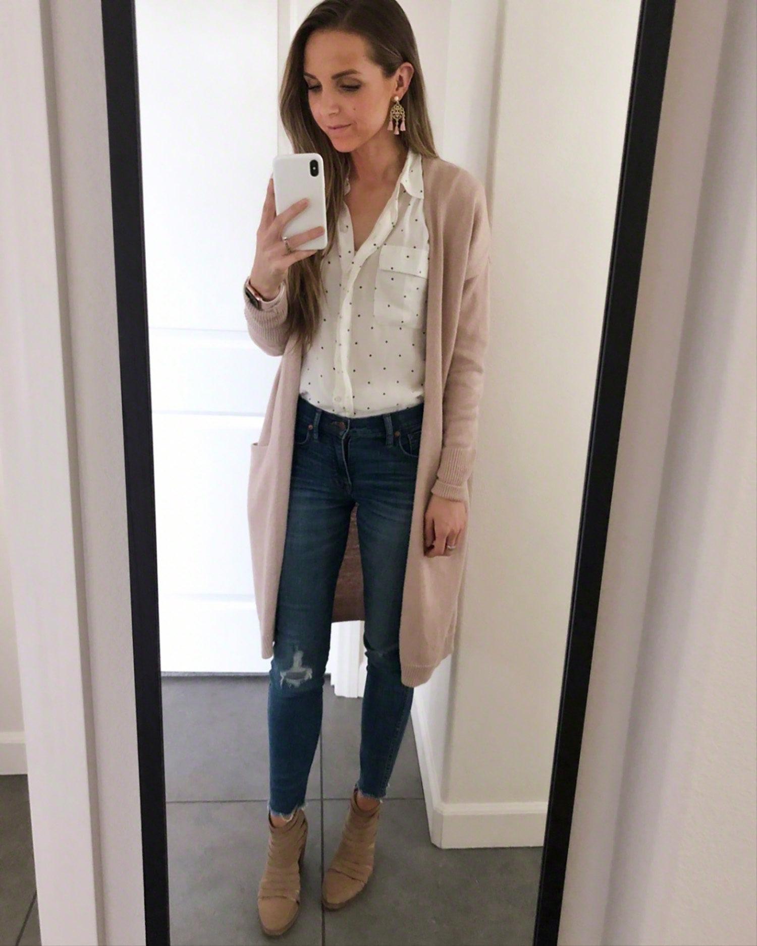 white blouse and blush cardigan | merricksart.com