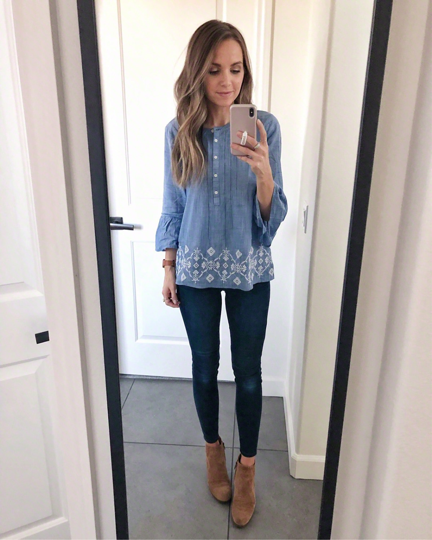 blue top with jeans