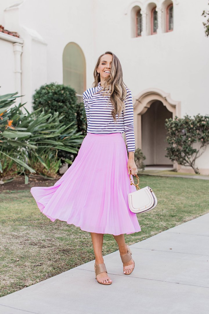turtleneck and pleated skirt for church