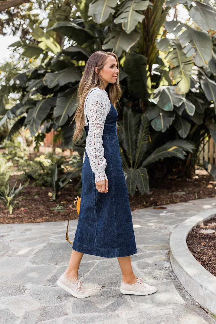 Lace top and Madewell Denim Dress