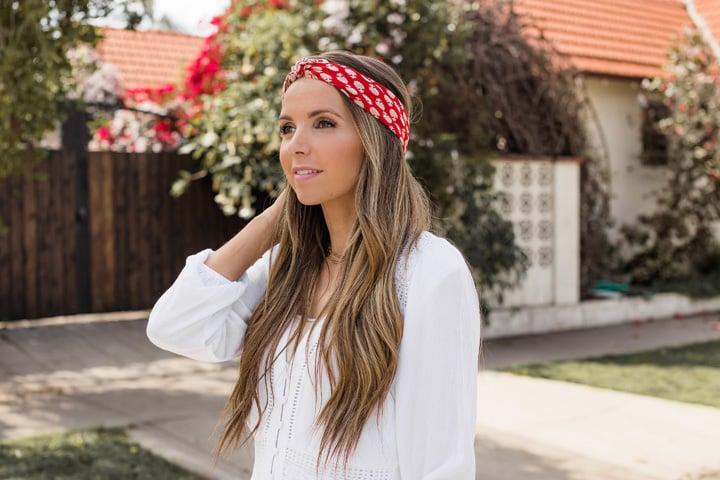 a pretty scarf worn as a headband