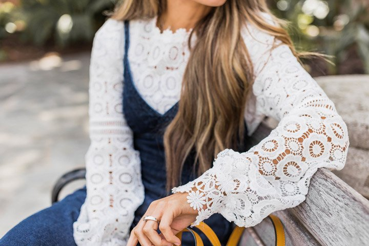 This lace long sleeve top is gorgeous by itself or layered under a dress