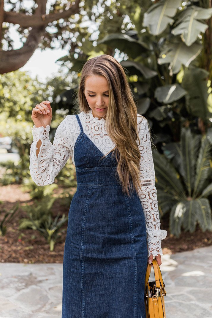 The prettiest lace top with a denim dress