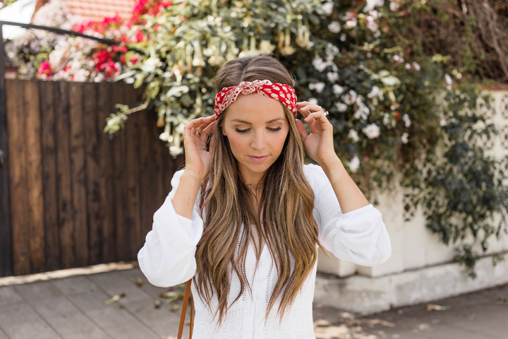 This pretty little red scarf is a perfect accessory for spring