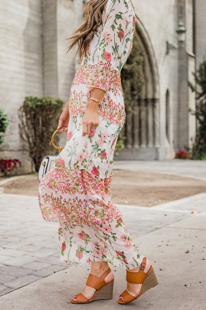 floral maxi dress and old navy wedges