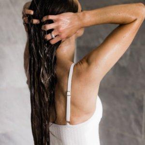 hair routine washing hair white bathing suit