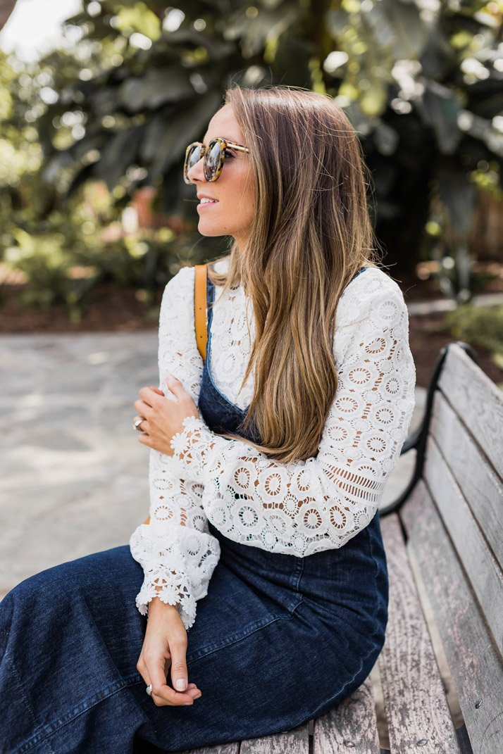 Lace top with a denim dress