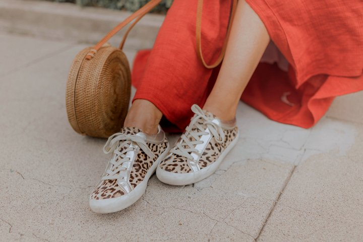 leopard and metallic sneakers