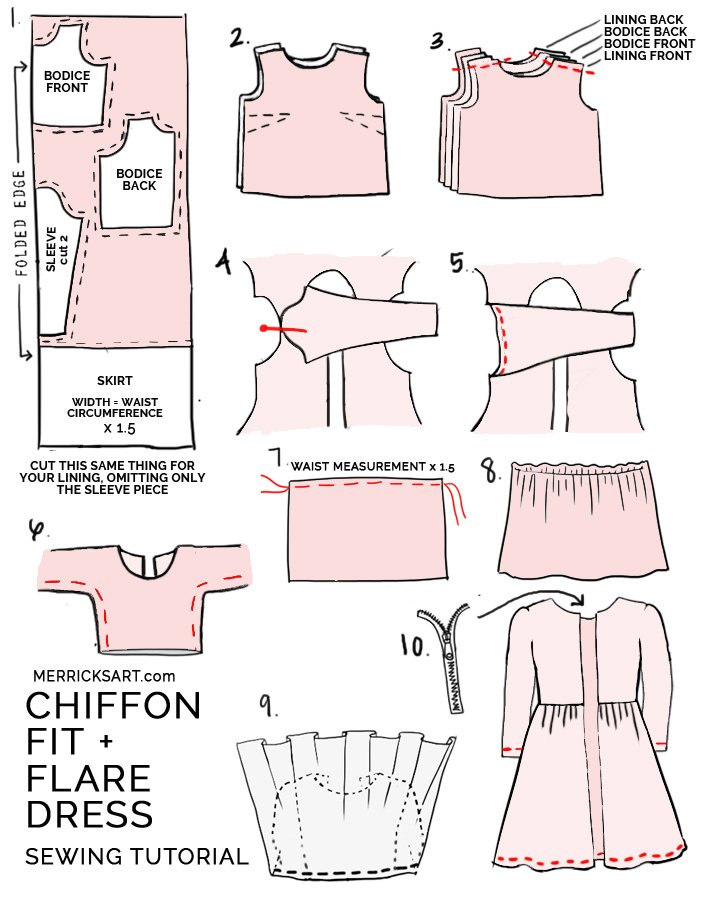 how to make a fit and flare chiffon dress with lining
