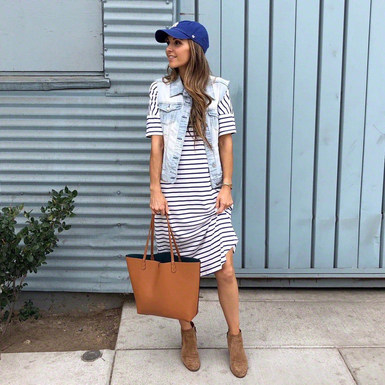 striped dress with denim vest