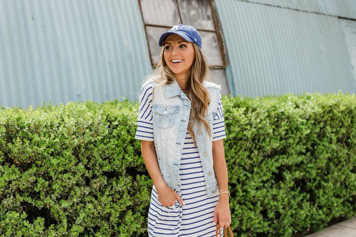 LA dodgers hat and a striped dress
