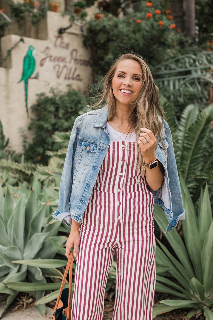 this striped romper is so fun for the beach or for everyday spring