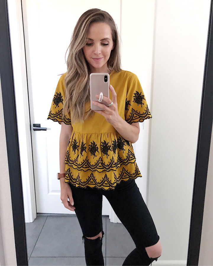 a cute mustard lace top!