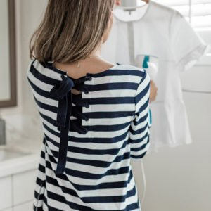 love the lace up back of these striped dress