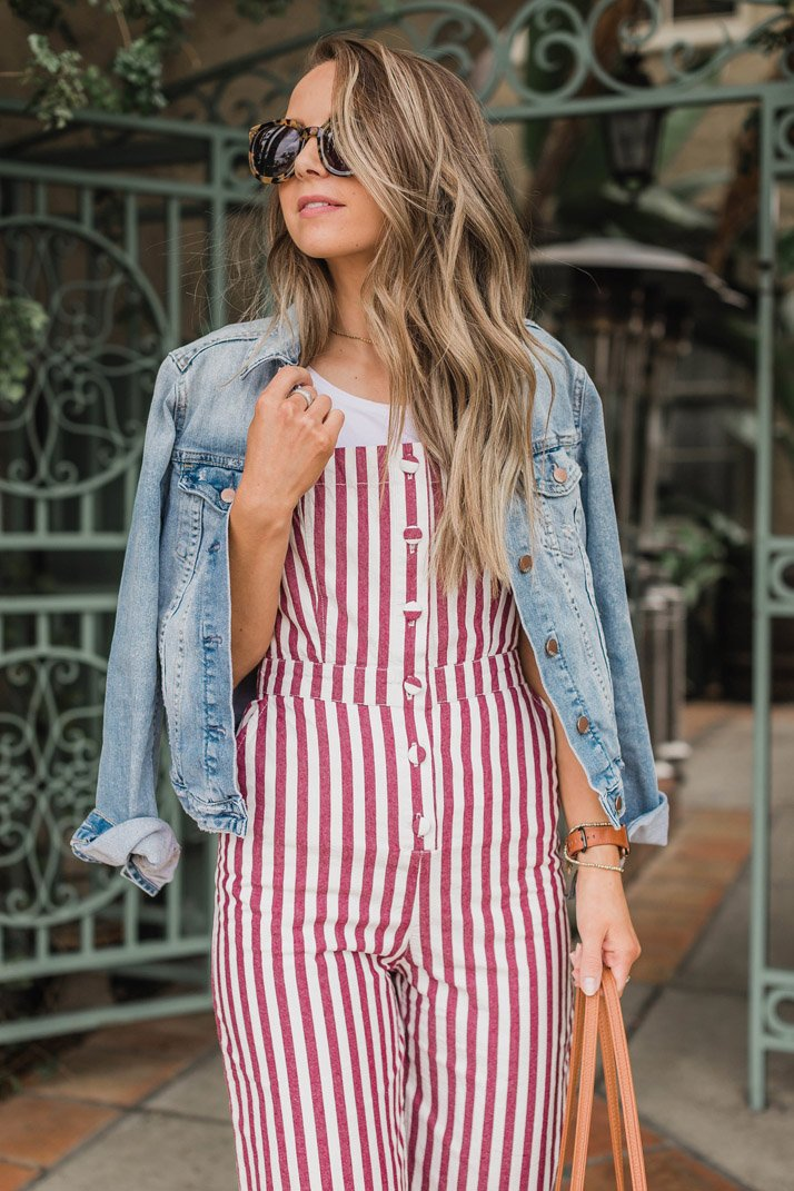 this striped jumpsuit is under $30, and so fun for spring and summer!
