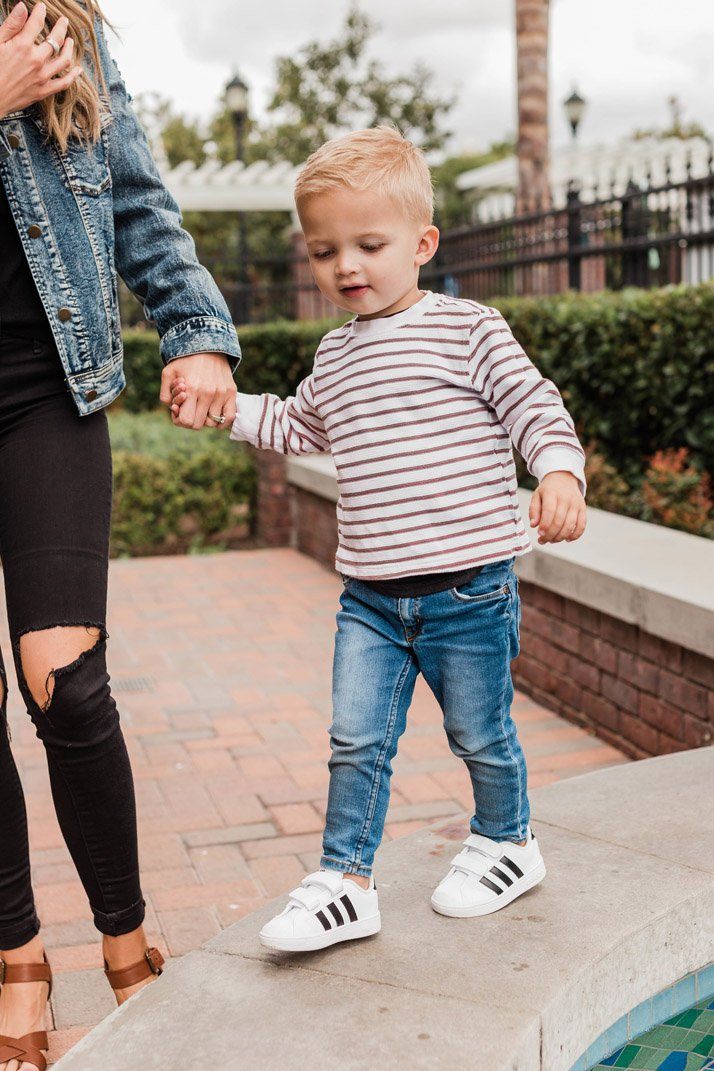 Striped tee and black and white adidas toddler sneakers