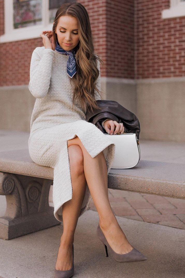 a simple sweatshirt dress is the perfect casual dress to have in your closet