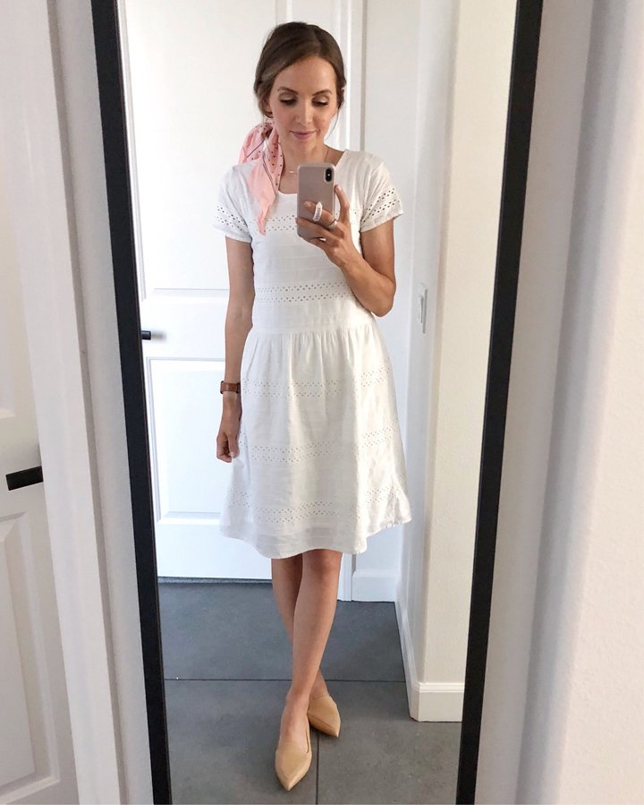 white eyelet dress and nude pointed loafers from m.gemi