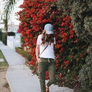 this olive pants and denim hat combo is easy and cute