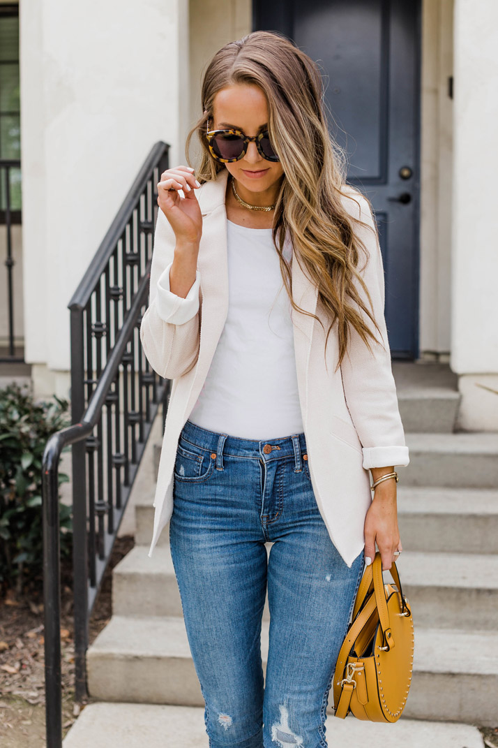 topshop blazer with madewell blue jeans