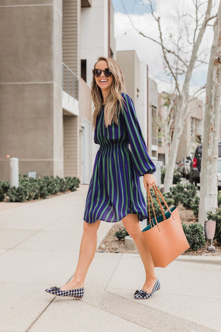 This striped dress from Ann Taylor is perfect for the office with flats or wedges