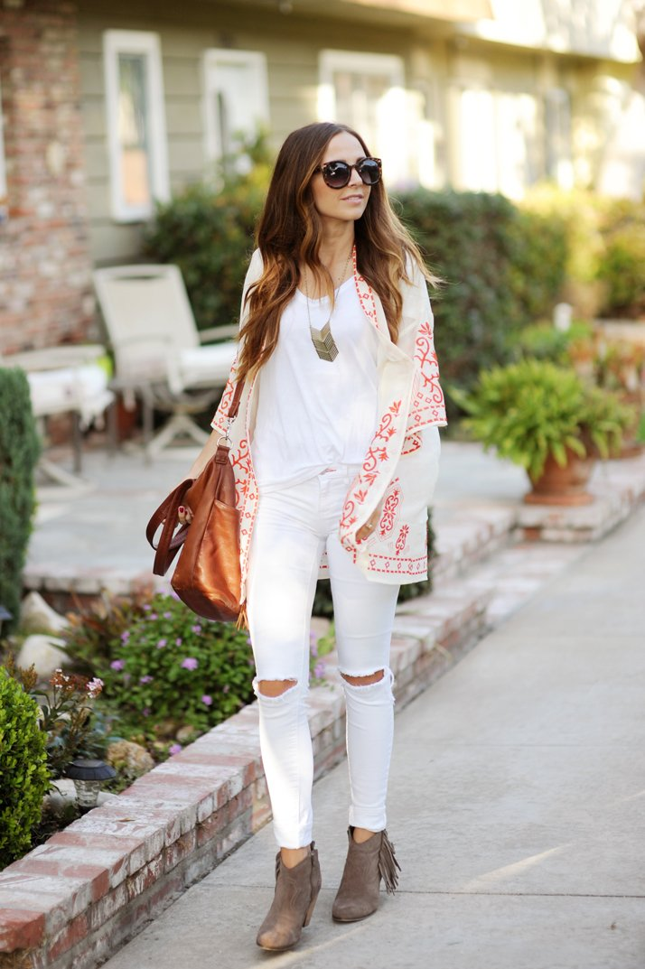 try a kimono over your white on white look for a breezy summer look!
