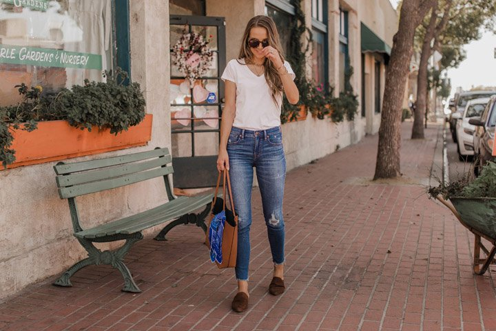white tee with jeans and flats