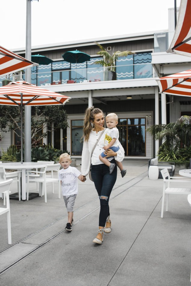 pacific city in Huntington Beach is a perfect place to walk around, eat, shop, and let the kids play!