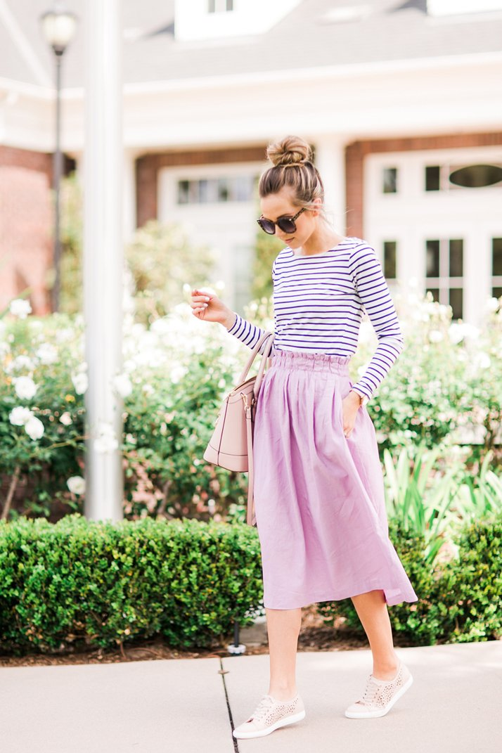 pair your midi skirt with a cute pair of sneakers!