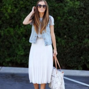 add a denim vest to your midi skirt for a chic and simple look