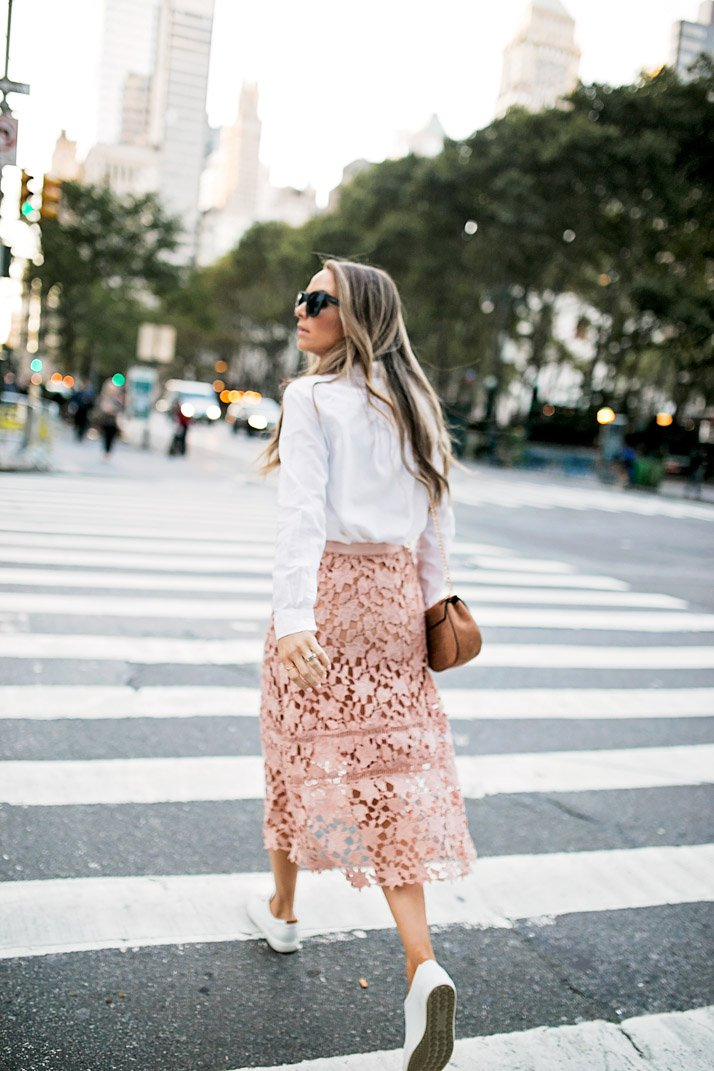 Midi skirts can definitely be paired with sneakers