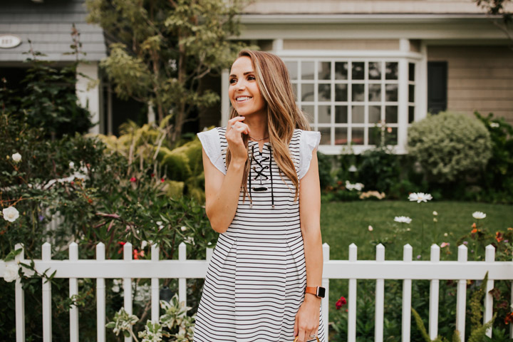 striped arianna papell dress