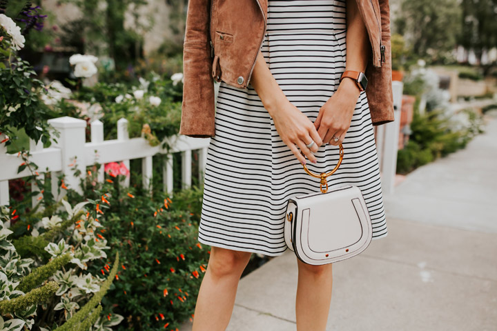 stripes and a dressy handbag