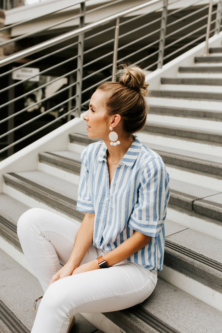 a striped shirt for a quick weekend getaway