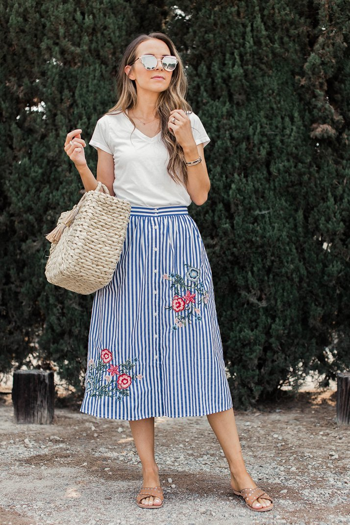 embroidered midi skirt