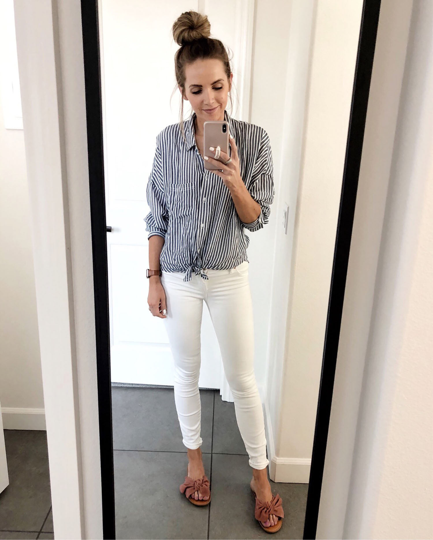 striped button up and white jeans