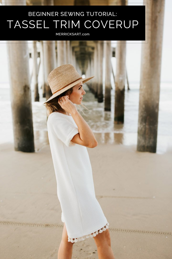 this diy beach dress is perfect as a coverup, and only takes an hour to make!