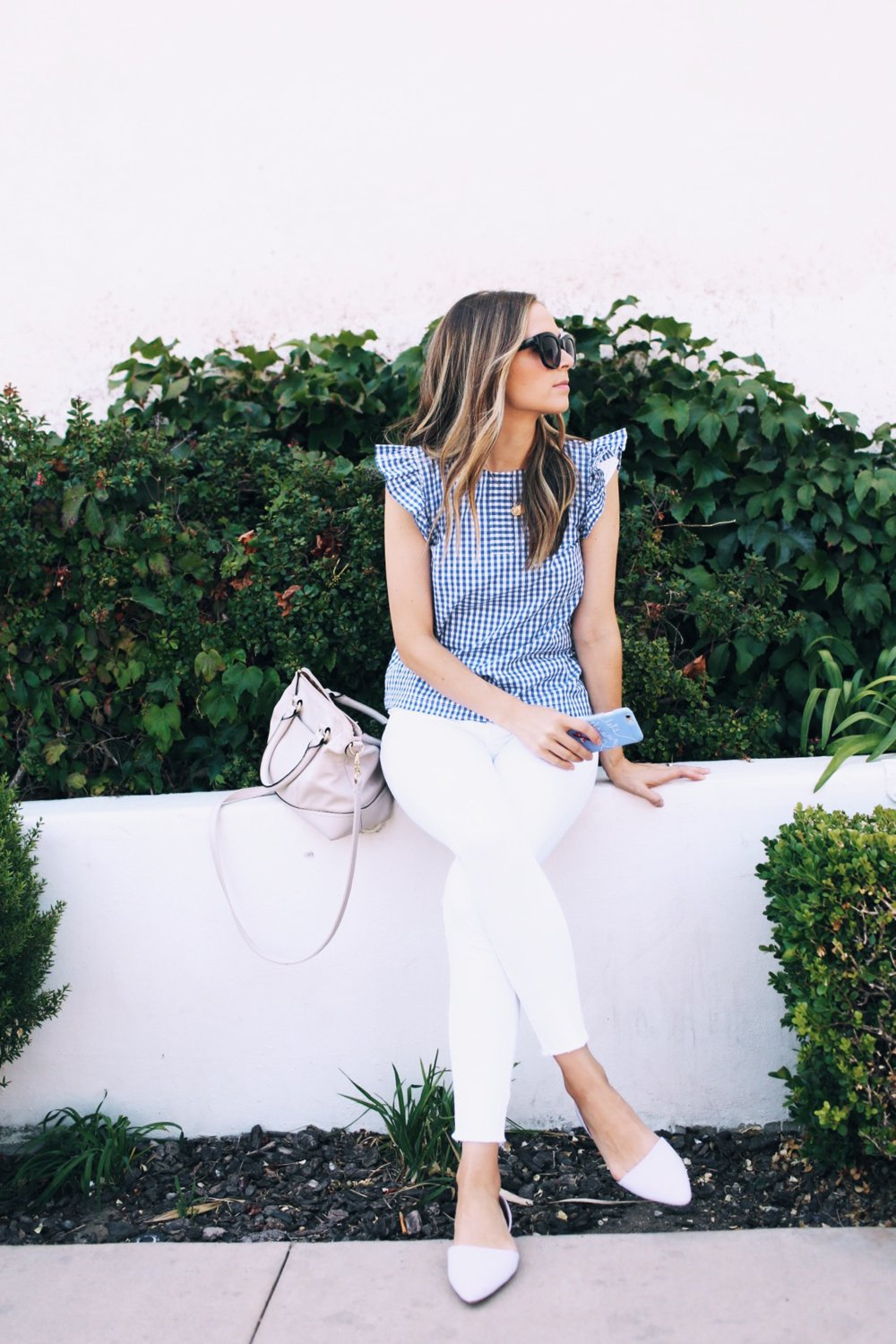 white jeans and gingham top