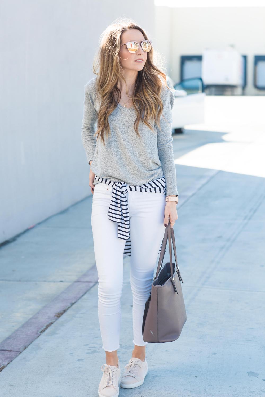 white jeans and gray sweatshirt