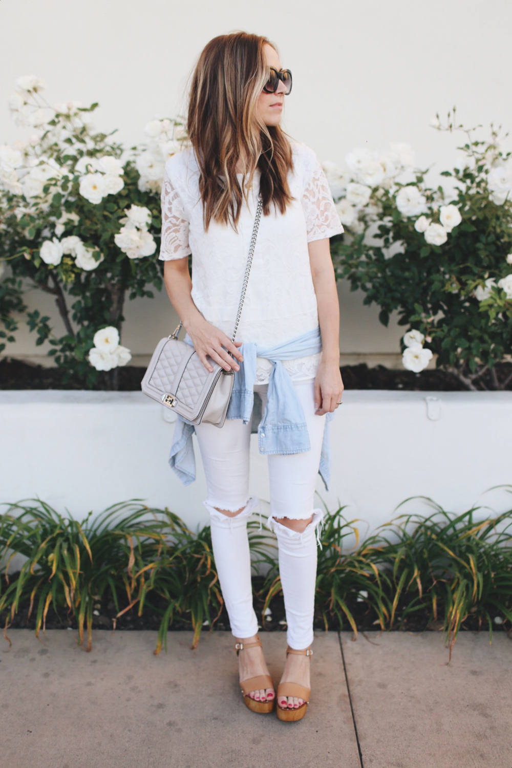 white jeans and lace top