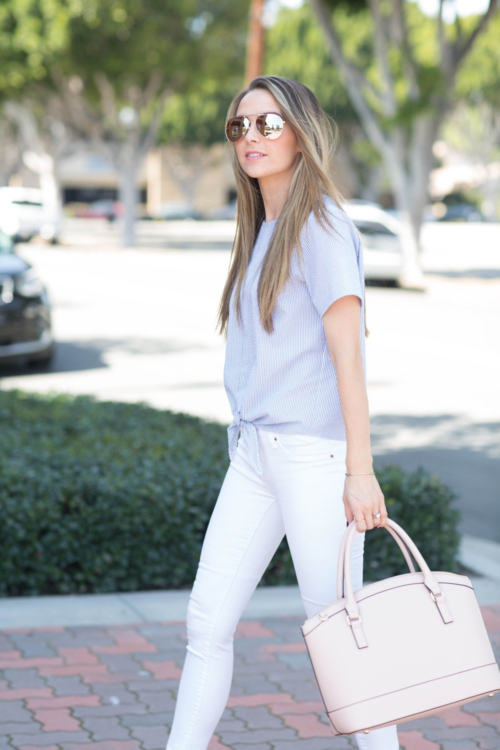 white jeans and tie front shirt