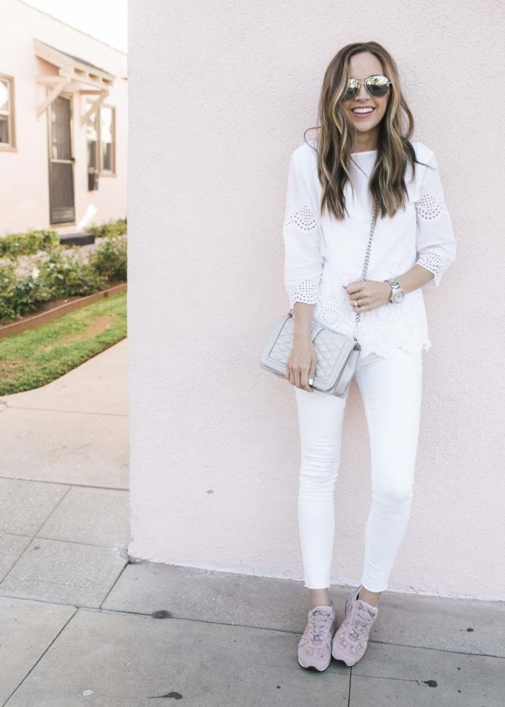 white jeans and white eyelet top