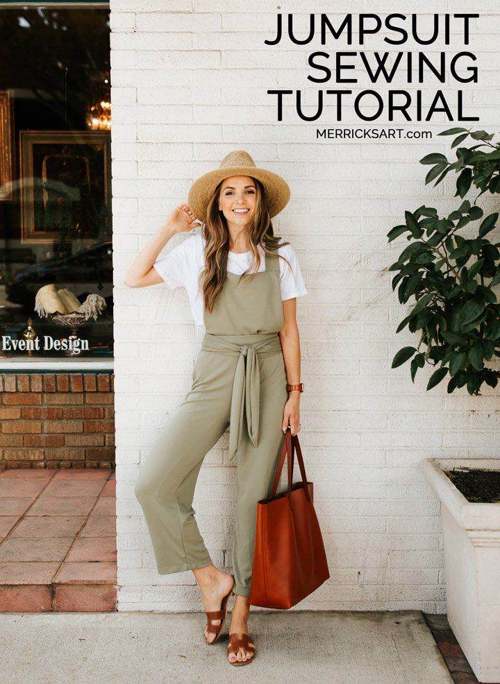 Learn how to make this cute tie waist jumpsuit