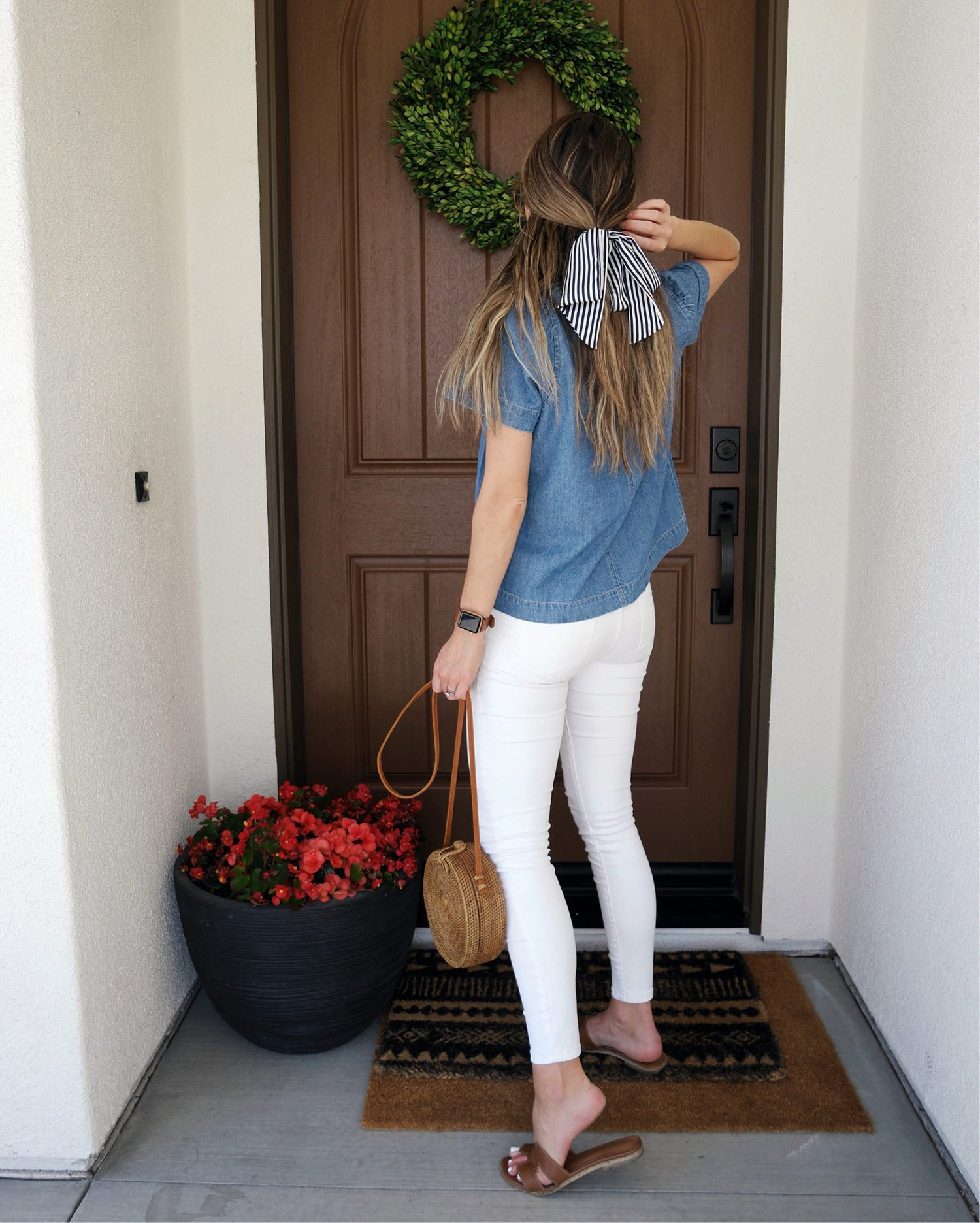 denim top and white jeans