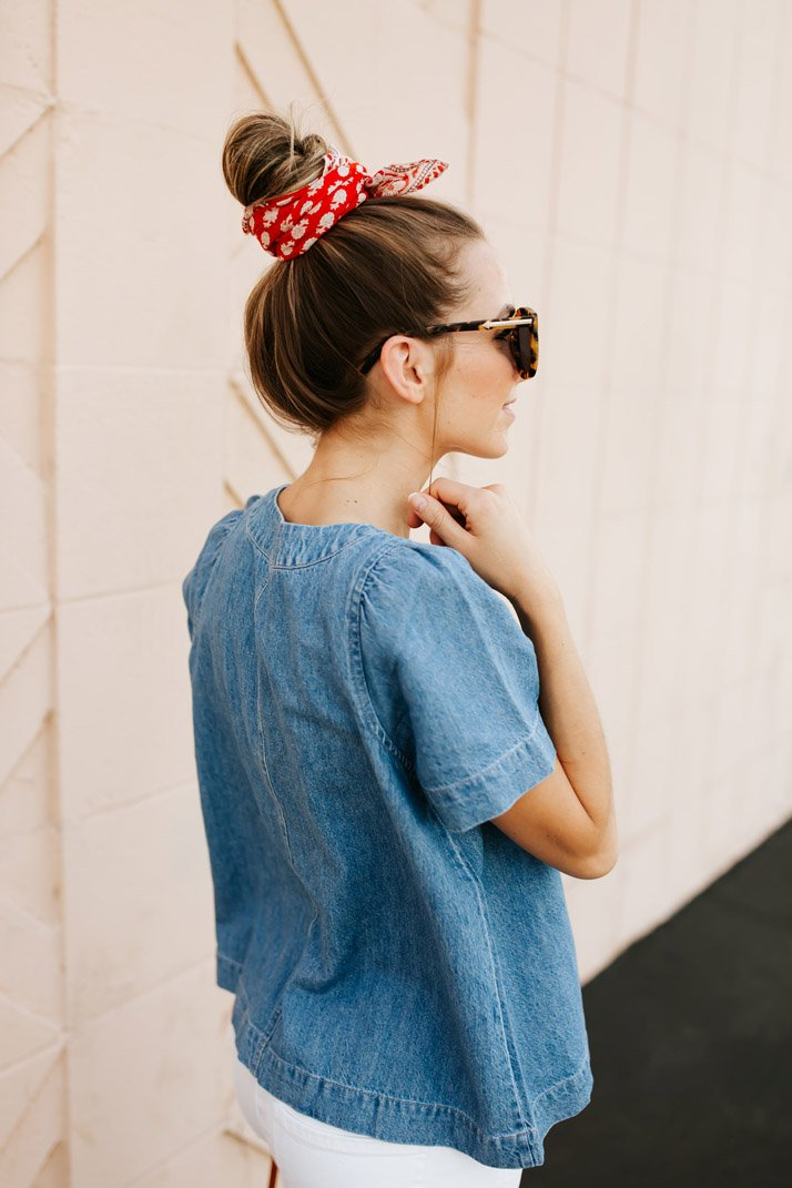 throw a cute bandana in your hair for the fourth of july!