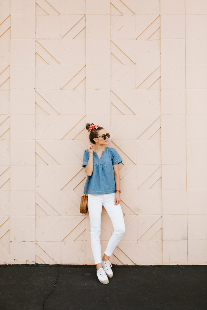 denim and white for summer
