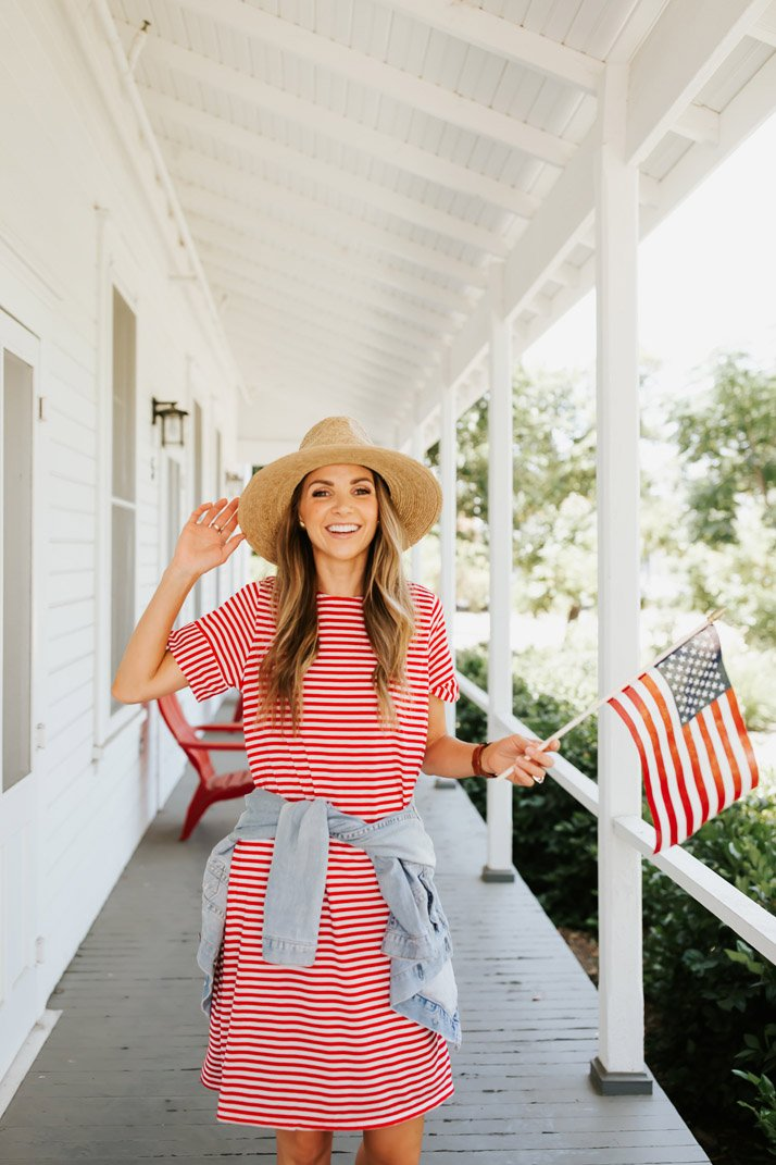 this cute red striped dress is perfect for the 4th of july