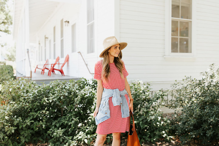 this striped t shirt dress is so perfect for the 4th of july